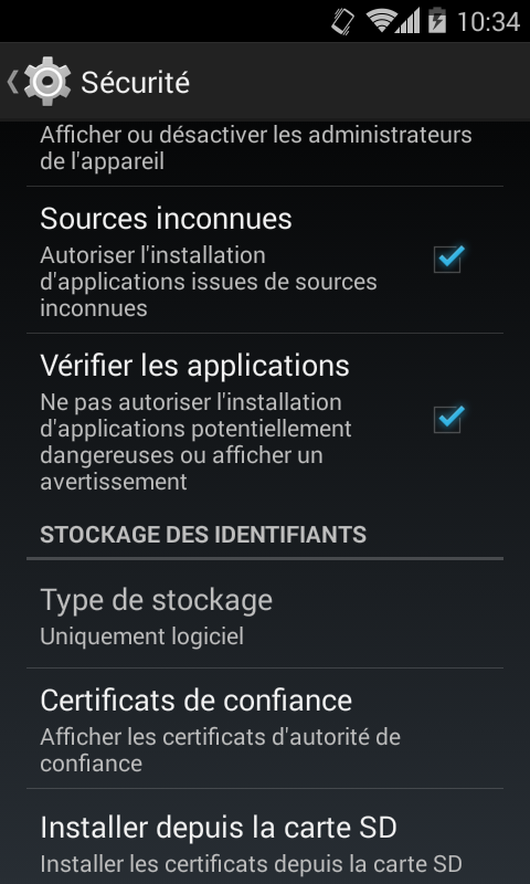 Autoriser l'installation d'applications issues de sources inconnues