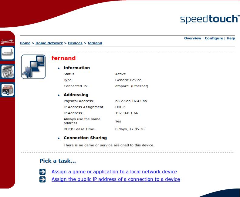 Administration du routeur pour trouver l'adresse IP allouée au Raspberry Pi